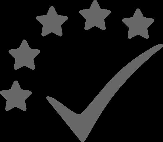 check mark with five stars icon