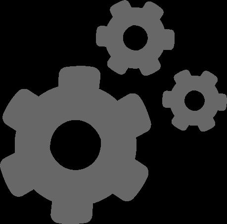 three mechanical gears icon